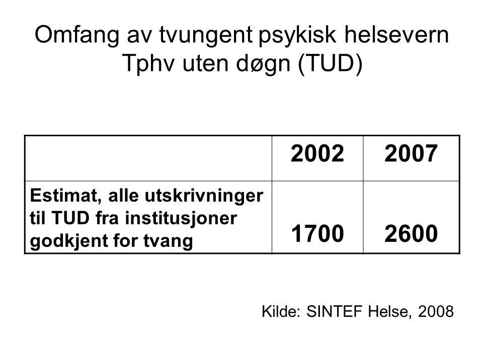 Omfang av tvungent psykisk helsevern Tphv uten døgn (TUD) 20022007 Estimat, alle utskrivninger til TUD fra institusjoner godkjent for tvang 17002600 K