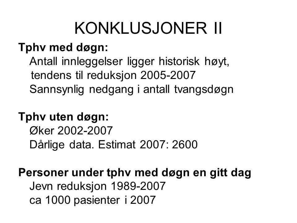 KONKLUSJONER II Tphv med døgn: Antall innleggelser ligger historisk høyt, tendens til reduksjon 2005-2007 Sannsynlig nedgang i antall tvangsdøgn Tphv
