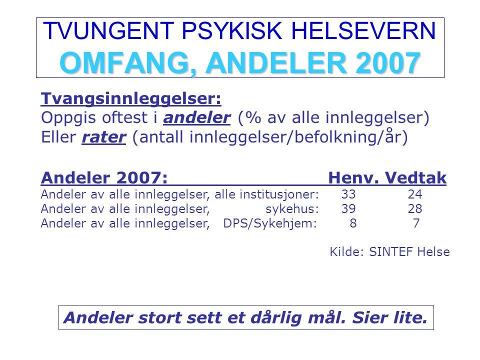 OMFANG, ANDELER 2007 TVUNGENT PSYKISK HELSEVERN OMFANG, ANDELER 2007 Tvangsinnleggelser: Oppgis oftest i andeler (% av alle innleggelser) Eller rater