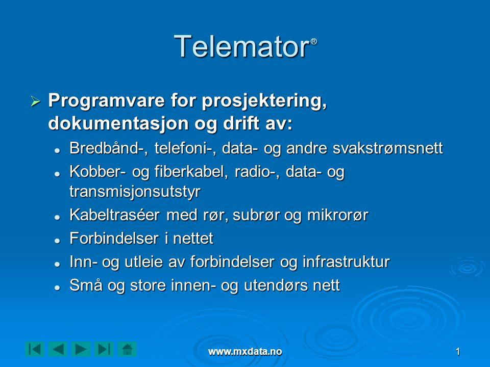 www.mxdata.no1 Telemator ®  Programvare for prosjektering, dokumentasjon og drift av:  Bredbånd-, telefoni-, data- og andre svakstrømsnett  Kobber-