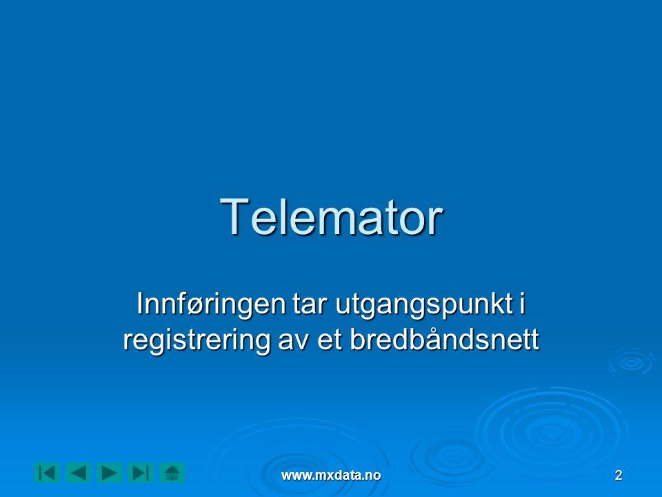 www.mxdata.no2 Telemator Innføringen tar utgangspunkt i registrering av et bredbåndsnett