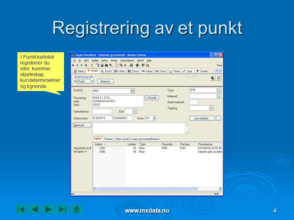 www.mxdata.no4 Registrering av et punkt I Punkt kartotek registrerer du siter, kummer, skjøteskap, kundetermineriner og lignende.