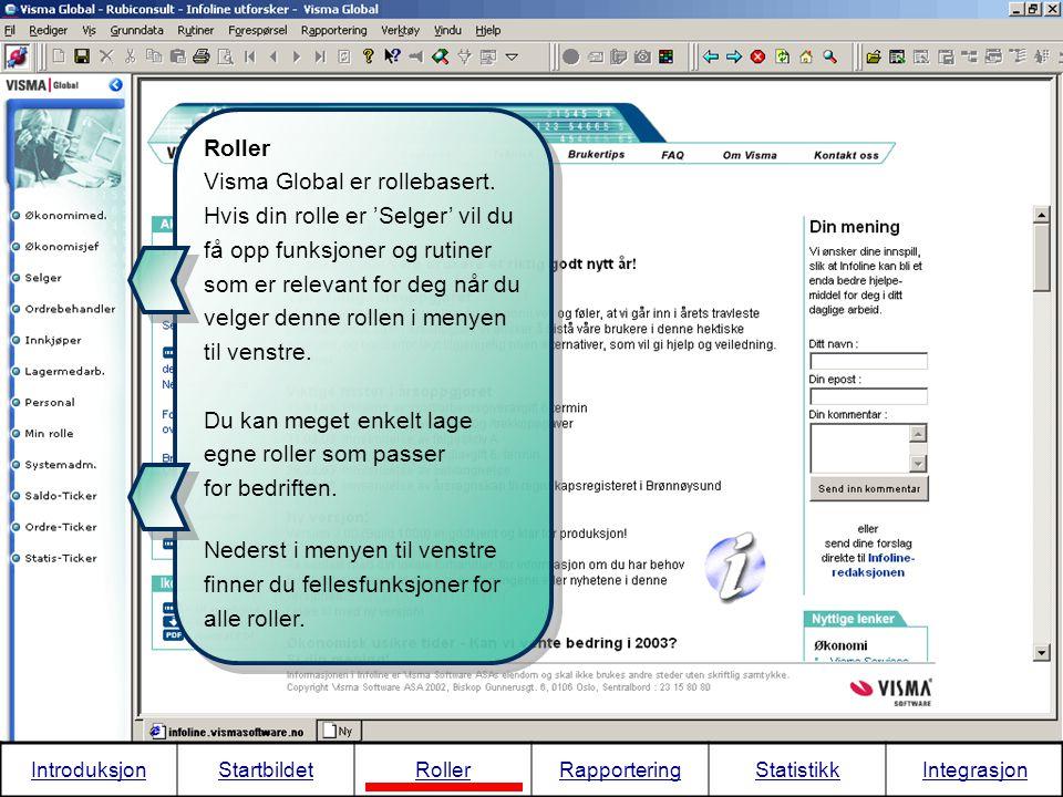 Dynamisk integrasjon Dette viser en annen måte å integrere Visma Global mot MS Excel på.