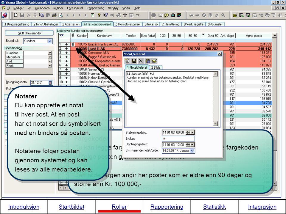 Fargekoder Du kan legge fargekoder på ulike typer poster. Denne fargekoden vil følge posten gjennom hele systemet. Den røde fargen angir her poster so