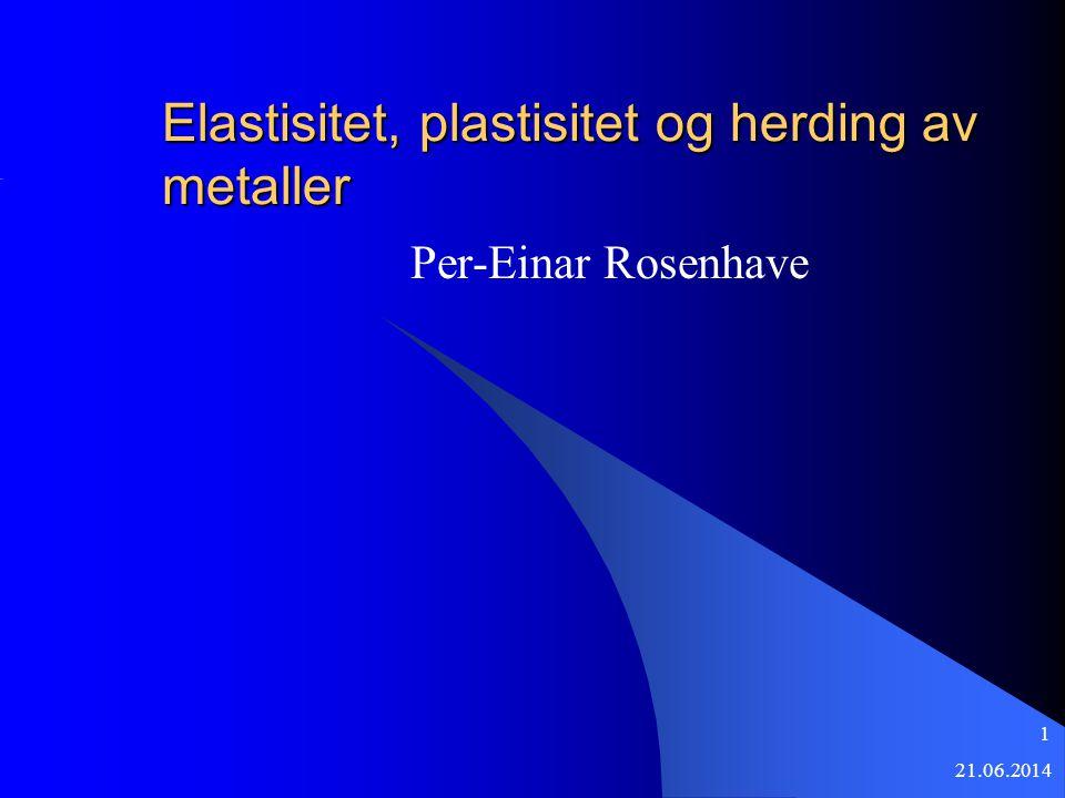 21.06.2014 1 Elastisitet, plastisitet og herding av metaller Per-Einar Rosenhave