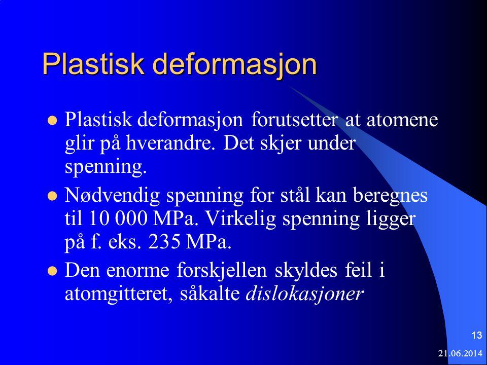 21.06.2014 13 Plastisk deformasjon  Plastisk deformasjon forutsetter at atomene glir på hverandre. Det skjer under spenning.  Nødvendig spenning for