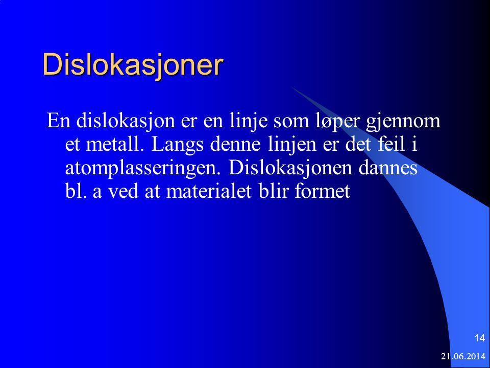 21.06.2014 14 Dislokasjoner En dislokasjon er en linje som løper gjennom et metall.