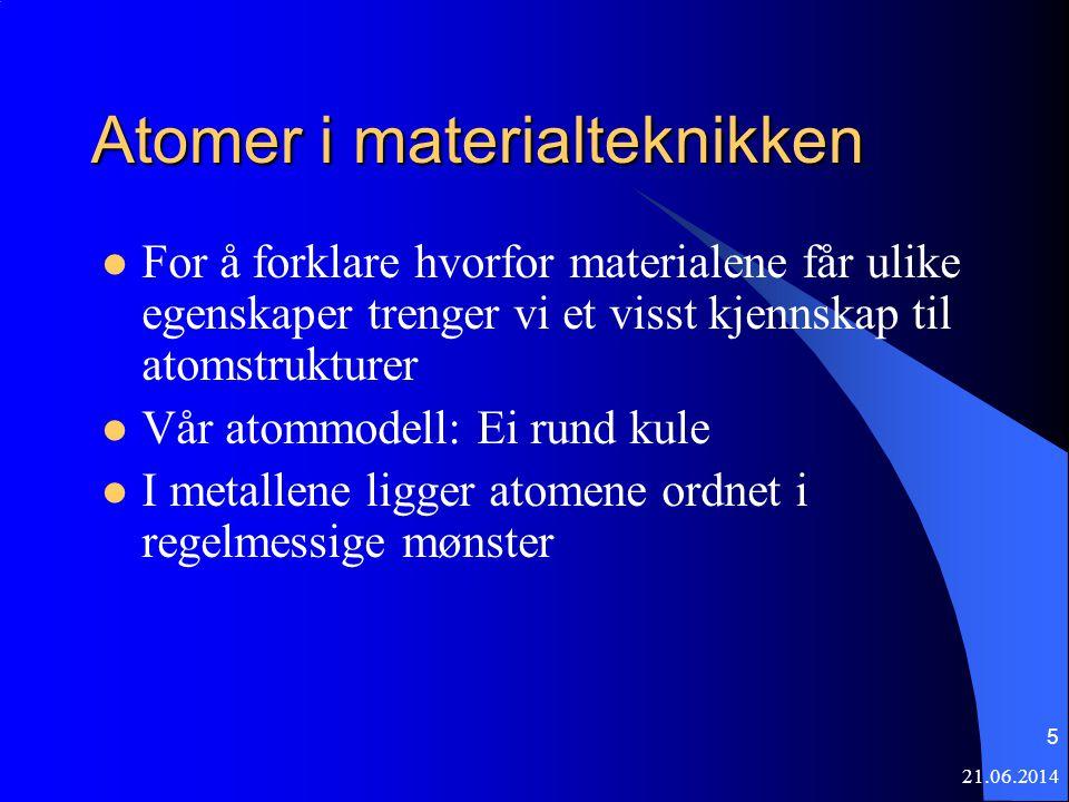 21.06.2014 5 Atomer i materialteknikken  For å forklare hvorfor materialene får ulike egenskaper trenger vi et visst kjennskap til atomstrukturer  Vår atommodell: Ei rund kule  I metallene ligger atomene ordnet i regelmessige mønster