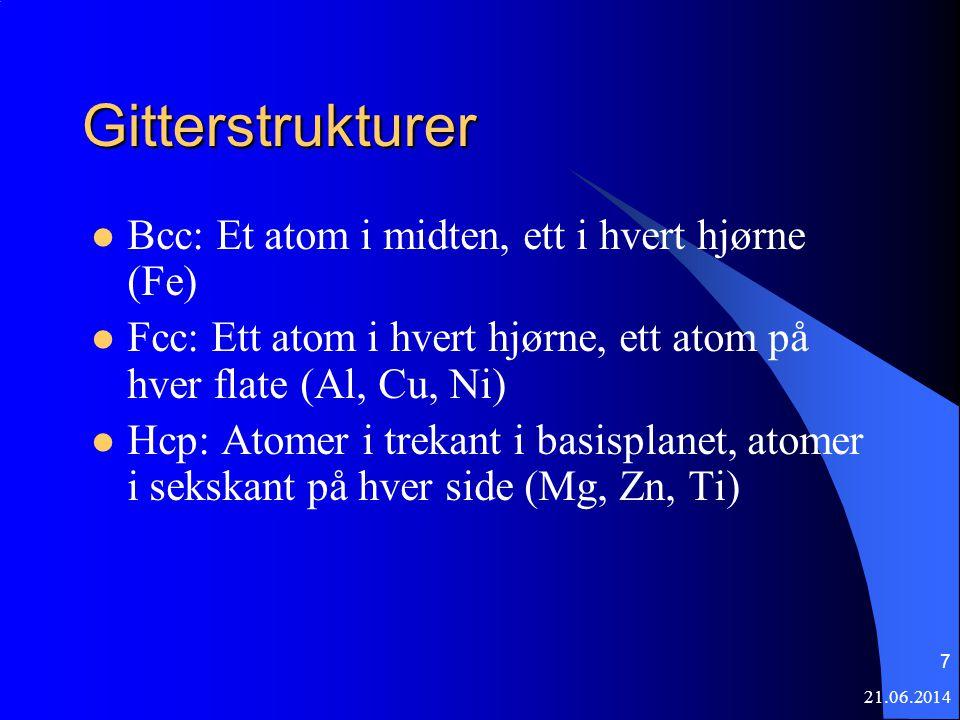 7 Gitterstrukturer  Bcc: Et atom i midten, ett i hvert hjørne (Fe)  Fcc: Ett atom i hvert hjørne, ett atom på hver flate (Al, Cu, Ni)  Hcp: Atomer i trekant i basisplanet, atomer i sekskant på hver side (Mg, Zn, Ti)