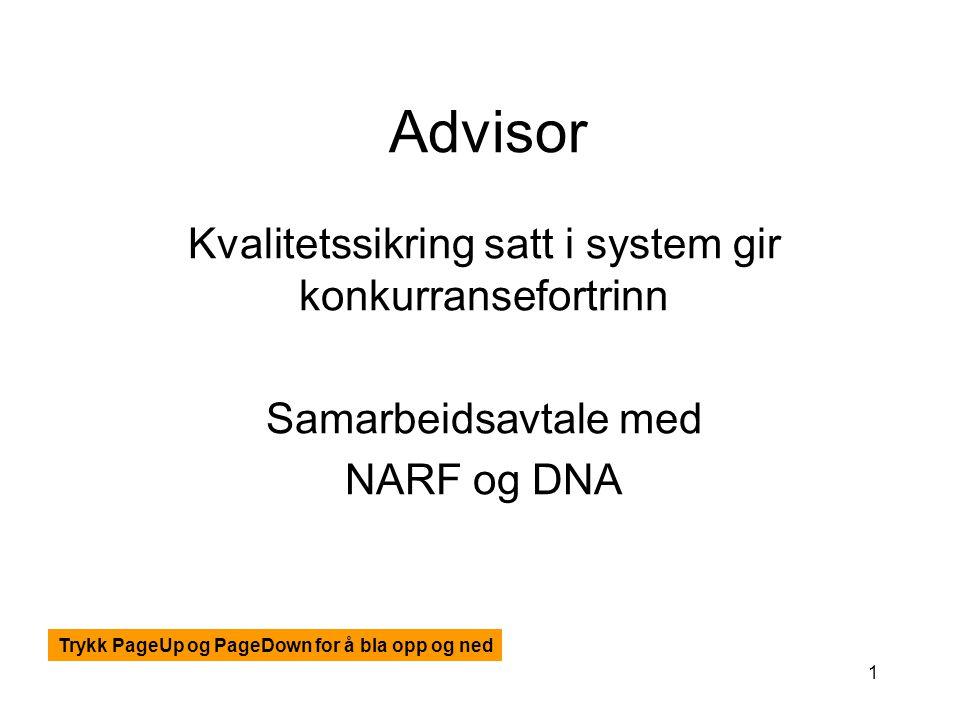 1 Advisor Kvalitetssikring satt i system gir konkurransefortrinn Samarbeidsavtale med NARF og DNA Trykk PageUp og PageDown for å bla opp og ned