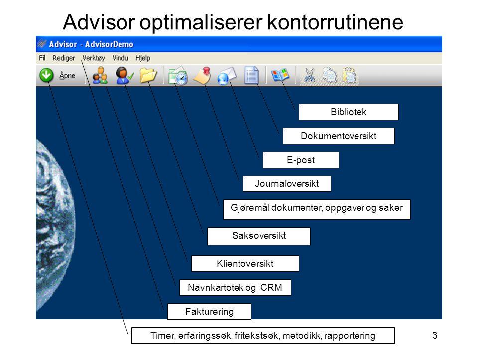 3 Advisor optimaliserer kontorrutinene Timer, erfaringssøk, fritekstsøk, metodikk, rapportering Navnkartotek og CRM Klientoversikt Saksoversikt Journa