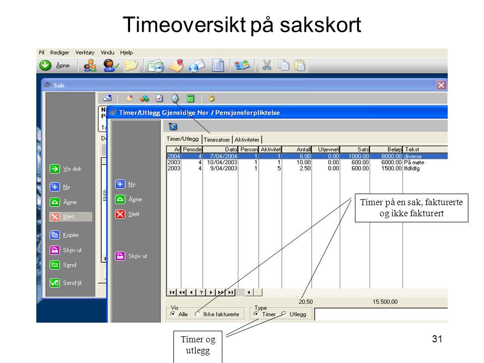 31 Timeoversikt på sakskort Timer på en sak, fakturerte og ikke fakturert Timer og utlegg