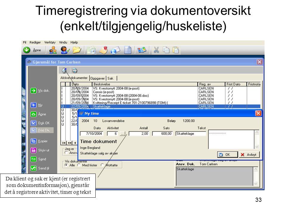 33 Timeregistrering via dokumentoversikt (enkelt/tilgjengelig/huskeliste) Da klient og sak er kjent (er registrert som dokumentinformasjon), gjenstår det å registrere aktivitet, timer og tekst
