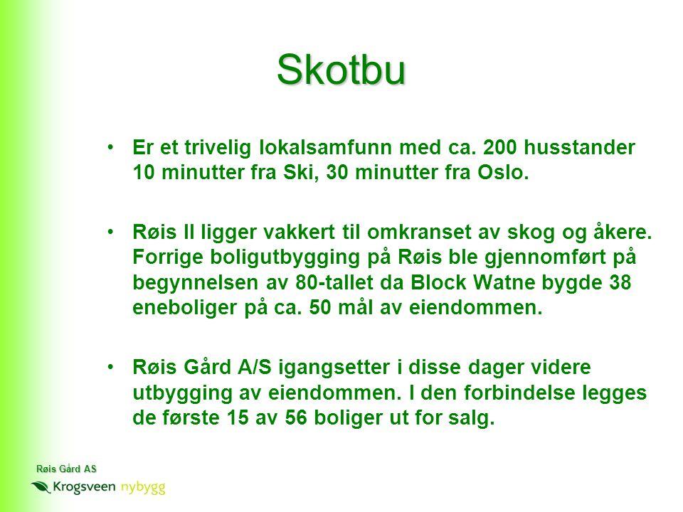 Røis Gård AS •Er et trivelig lokalsamfunn med ca. 200 husstander 10 minutter fra Ski, 30 minutter fra Oslo. •Røis II ligger vakkert til omkranset av s