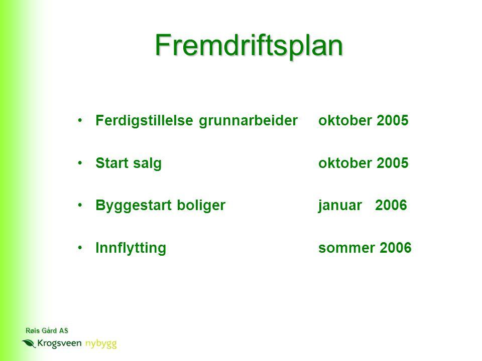 Røis Gård AS Fremdriftsplan •Ferdigstillelse grunnarbeideroktober 2005 •Start salgoktober 2005 •Byggestart boligerjanuar 2006 •Innflyttingsommer 2006
