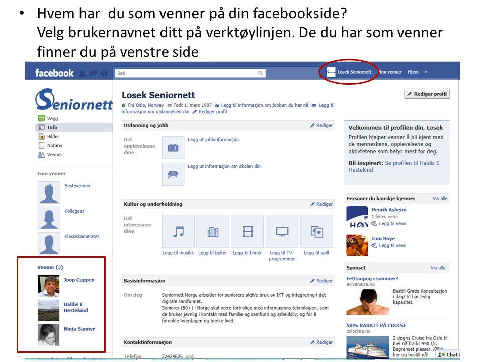 • Hvem har du som venner på din facebookside? Velg brukernavnet ditt på verktøylinjen. De du har som venner finner du på venstre side