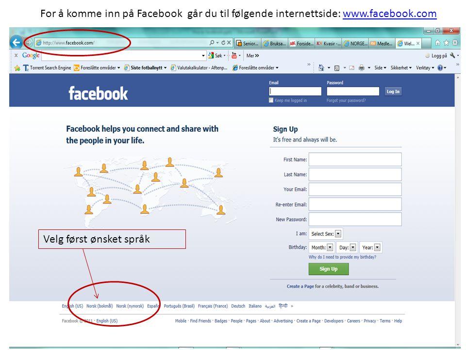 Dersom du allerede har en Facebook- konto kan du logge deg inn her.