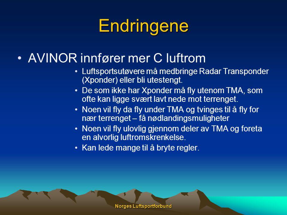 Endringene •AVINOR innfører mer C luftrom •Luftsportsutøvere må medbringe Radar Transponder (Xponder) eller bli utestengt. •De som ikke har Xponder må