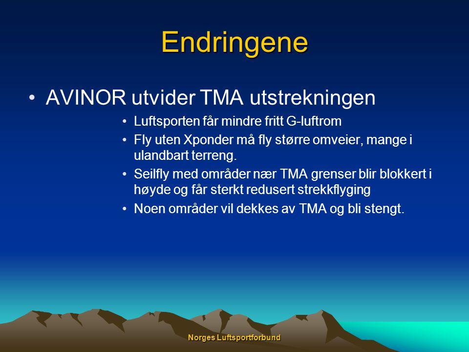 Norges Luftsportforbund Endringene •AVINOR utvider TMA utstrekningen •Luftsporten får mindre fritt G-luftrom •Fly uten Xponder må fly større omveier,