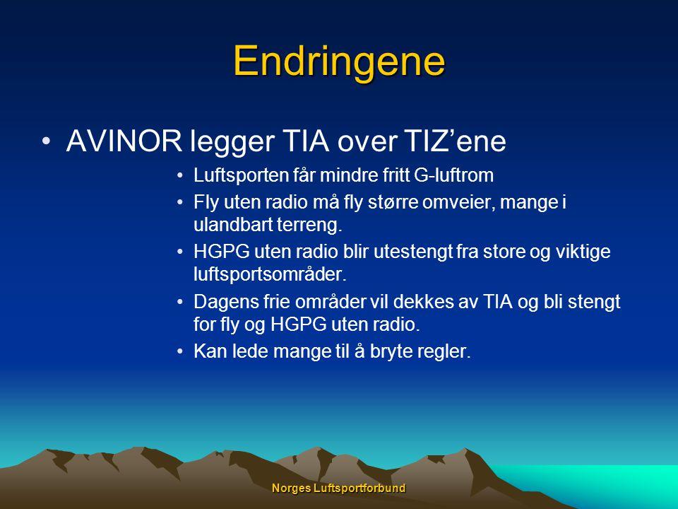 Norges Luftsportforbund Endringene •AVINOR legger TIA over TIZ'ene •Luftsporten får mindre fritt G-luftrom •Fly uten radio må fly større omveier, mang