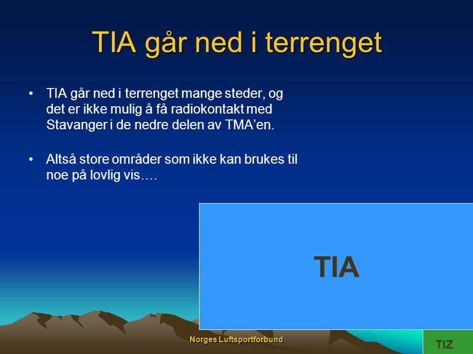 Norges Luftsportforbund TIA går ned i terrenget TIA •TIA går ned i terrenget mange steder, og det er ikke mulig å få radiokontakt med Stavanger i de n