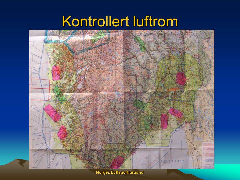 Norges Luftsportforbund Luftromstyper •Kontrollsoner (CTR) •Fra bakken opp til 2500 FT •Terminalområder (TMA) •Over CTR - fra 2500 FT opp til CTA (9500 FT) •Terminal Informasjonssoner (TIZ) •Små soner rundt AFIS plasser •Terminal Informasjonsområde (TIA) •Over TIZ fra 2500 FT opp til CTA (9500 FT) •Kontrollområder (CTA) •Over 9500 – 13500 FT