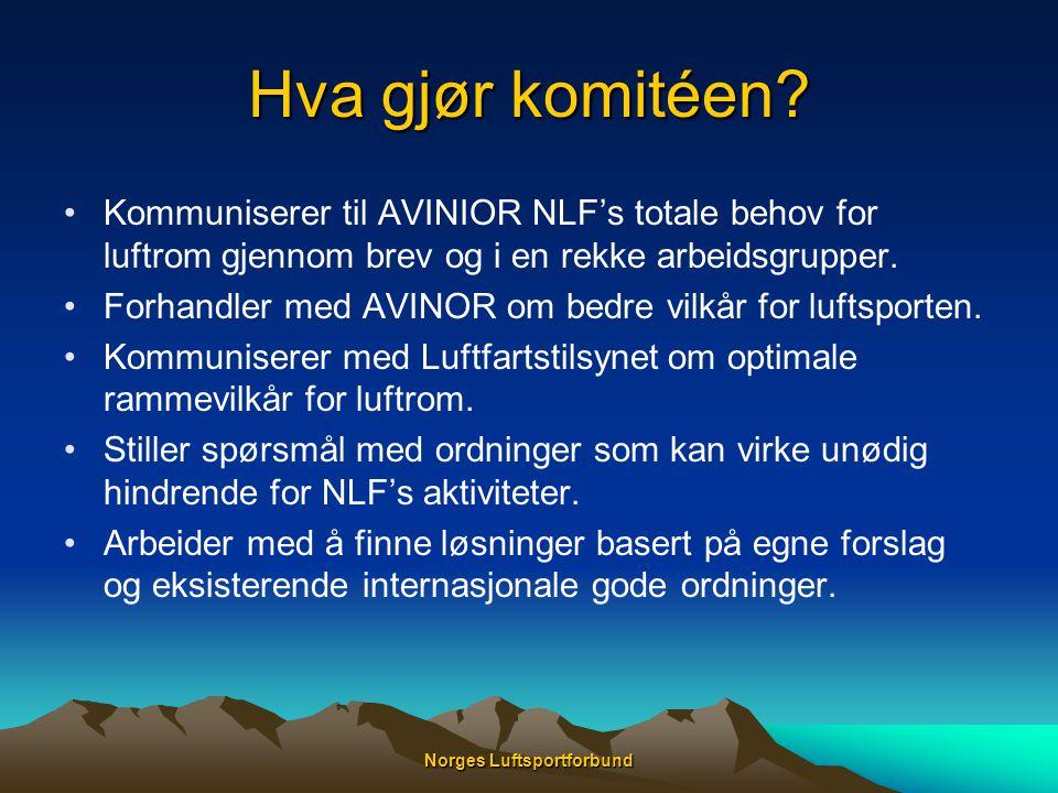 Norges Luftsportforbund Hva gjør komitéen? •Kommuniserer til AVINIOR NLF's totale behov for luftrom gjennom brev og i en rekke arbeidsgrupper. •Forhan
