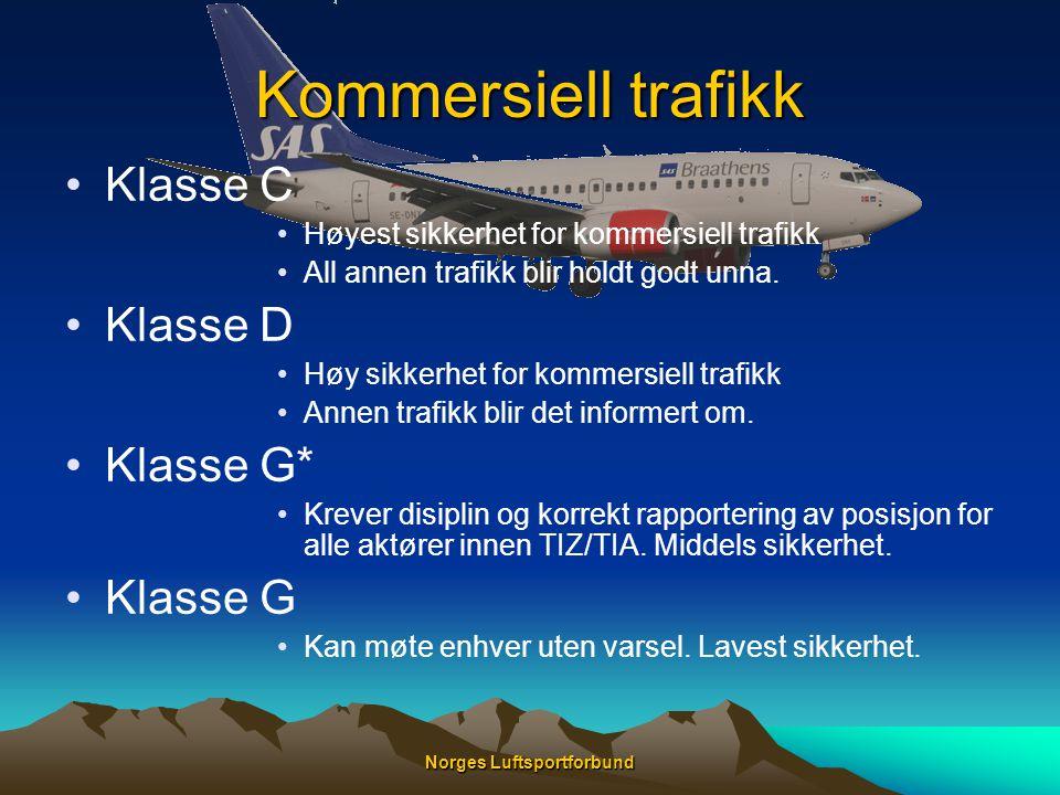 Norges Luftsportforbund Kommersiell trafikk •Klasse C •Høyest sikkerhet for kommersiell trafikk •All annen trafikk blir holdt godt unna. •Klasse D •Hø