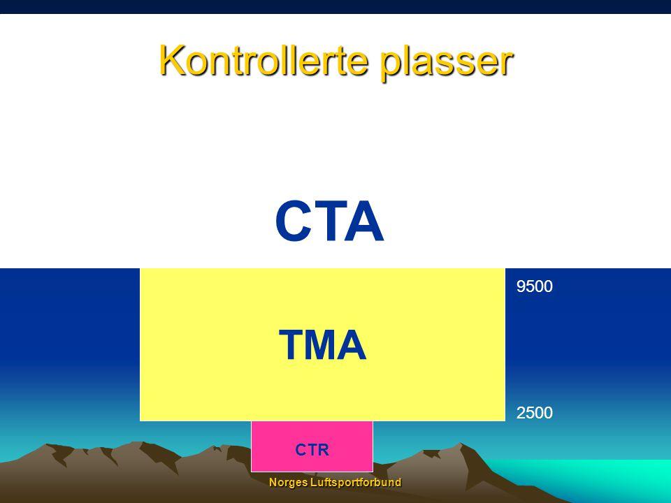 Norges Luftsportforbund AFIS plasser TIA CTA TIZ 9500 2500