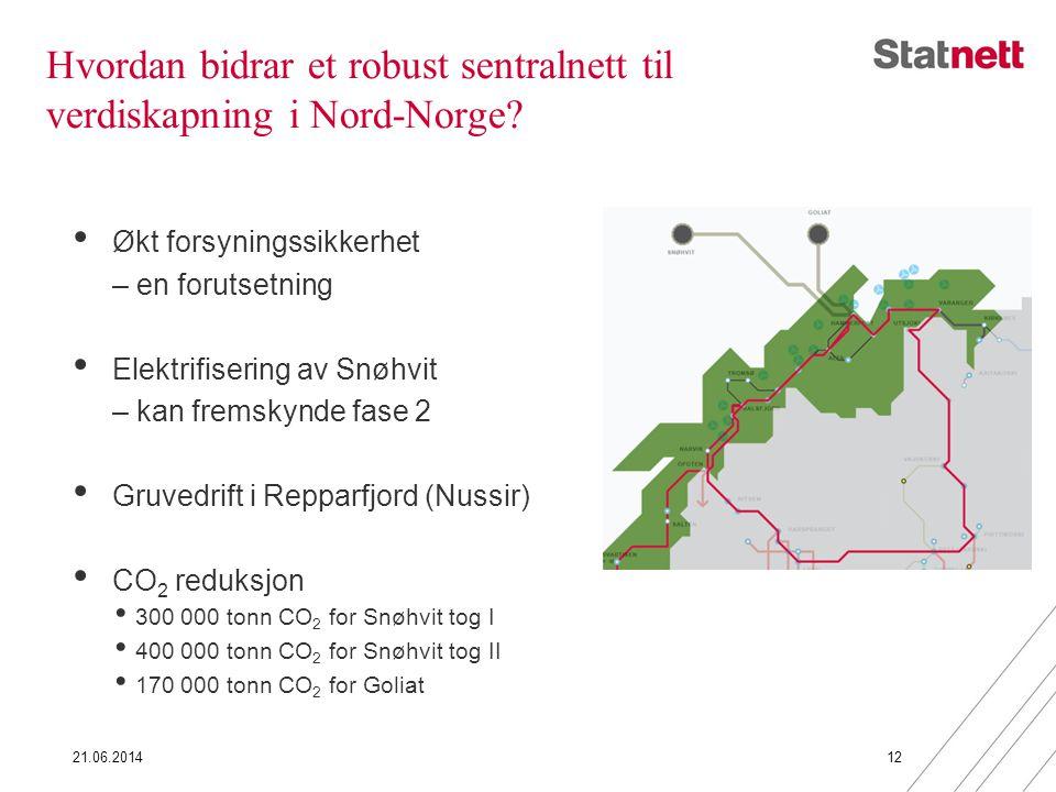 Hvordan bidrar et robust sentralnett til verdiskapning i Nord-Norge? • Økt forsyningssikkerhet – en forutsetning • Elektrifisering av Snøhvit – kan fr