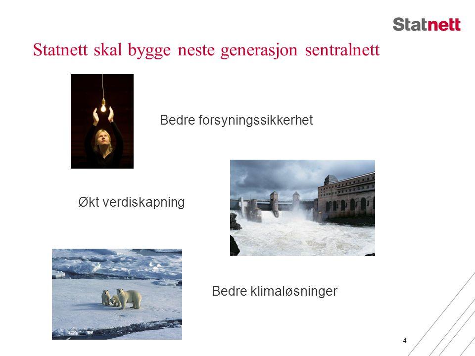 Statnett skal bygge neste generasjon sentralnett 4 Bedre forsyningssikkerhet Økt verdiskapning Bedre klimaløsninger