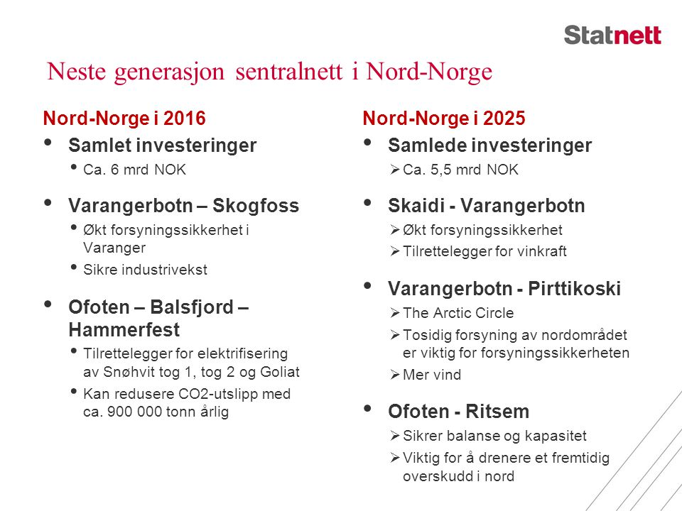 Neste generasjon sentralnett i Nord-Norge Nord-Norge i 2016 • Samlet investeringer • Ca. 6 mrd NOK • Varangerbotn – Skogfoss • Økt forsyningssikkerhet
