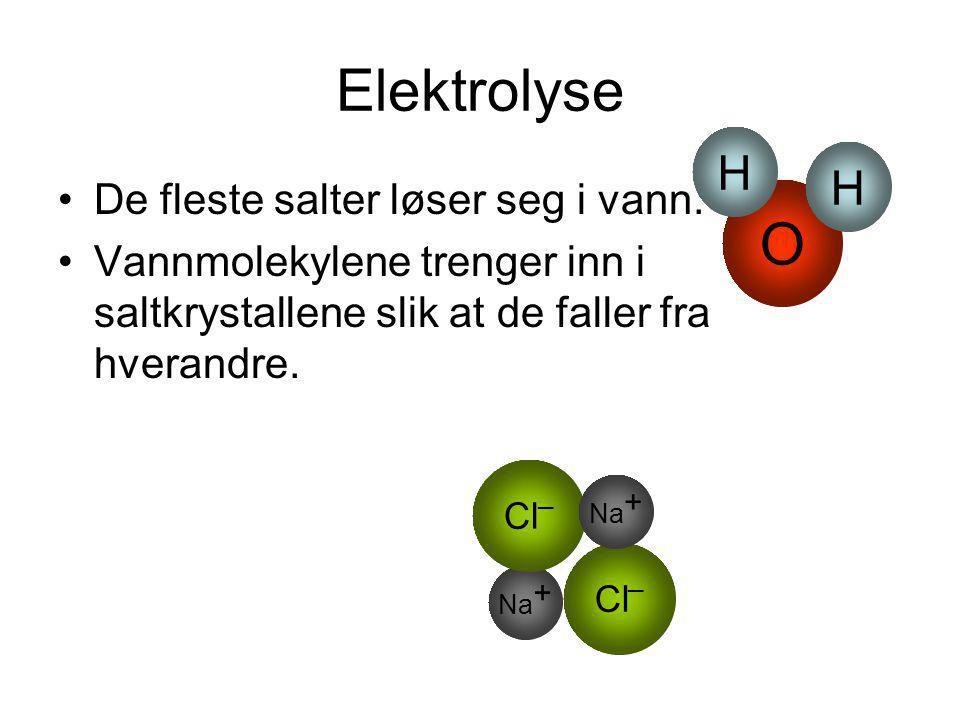 Elektrolyse •De fleste salter løser seg i vann. •Vannmolekylene trenger inn i saltkrystallene slik at de faller fra hverandre. Na + Cl _ Na + O H H