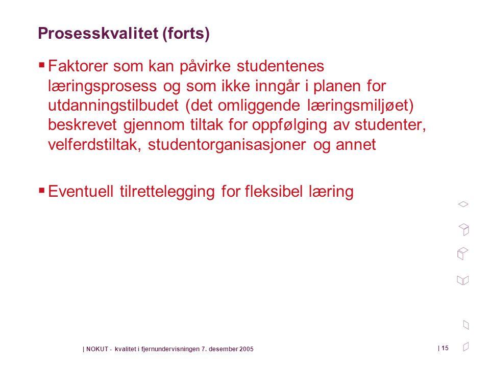 | NOKUT - kvalitet i fjernundervisningen 7. desember 2005 | 15 Prosesskvalitet (forts)  Faktorer som kan påvirke studentenes læringsprosess og som ik