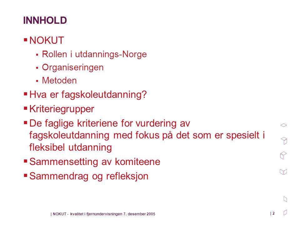 | NOKUT - kvalitet i fjernundervisningen 7. desember 2005 | 2 INNHOLD  NOKUT  Rollen i utdannings-Norge  Organiseringen  Metoden  Hva er fagskole