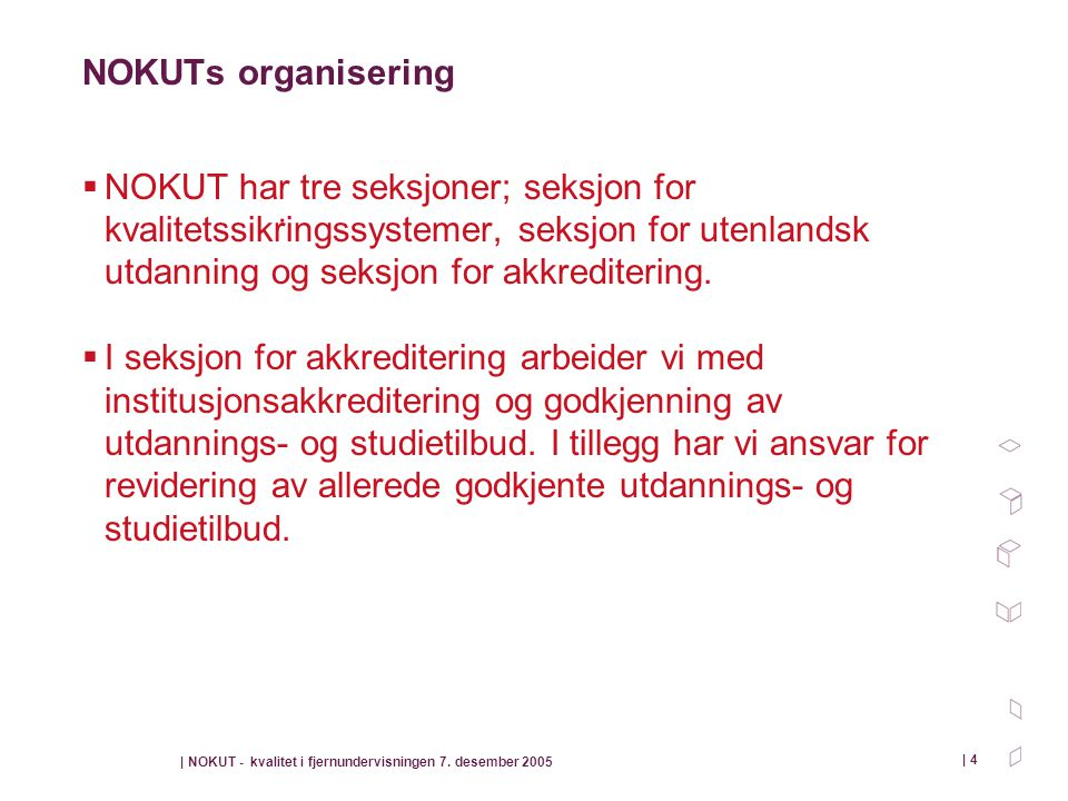 | NOKUT - kvalitet i fjernundervisningen 7. desember 2005 | 4 NOKUTs organisering  NOKUT har tre seksjoner; seksjon for kvalitetssikringssystemer, se