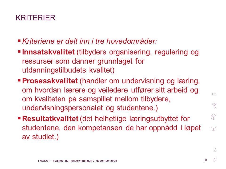 | NOKUT - kvalitet i fjernundervisningen 7. desember 2005 | 8 KRITERIER  Kriteriene er delt inn i tre hovedområder:  Innsatskvalitet (tilbyders orga