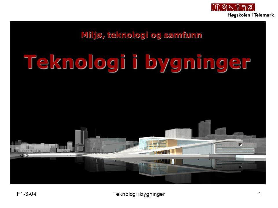 F1-3-04Teknologi i bygninger1 Miljø, teknologi og samfunn
