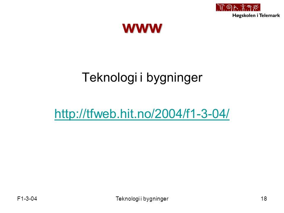 F1-3-04Teknologi i bygninger18 www Teknologi i bygninger http://tfweb.hit.no/2004/f1-3-04/