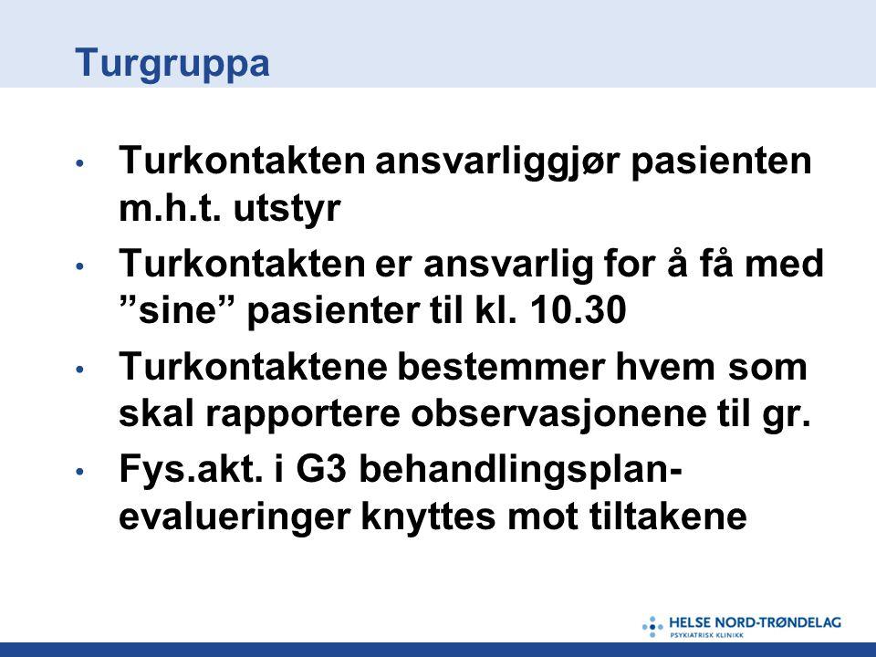 """Turgruppa • Turkontakten ansvarliggjør pasienten m.h.t. utstyr • Turkontakten er ansvarlig for å få med """"sine"""" pasienter til kl. 10.30 • Turkontaktene"""
