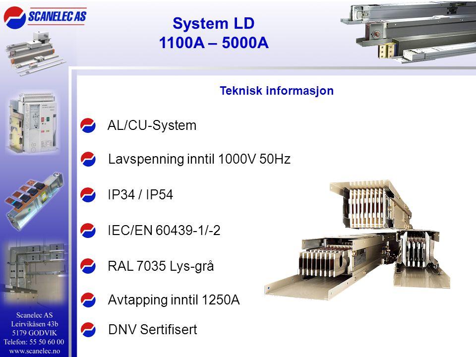 System LD 1100A – 5000A AL/CU-System IEC/EN 60439-1/-2 IP34 / IP54 Lavspenning inntil 1000V 50Hz Avtapping inntil 1250A RAL 7035 Lys-grå Teknisk infor