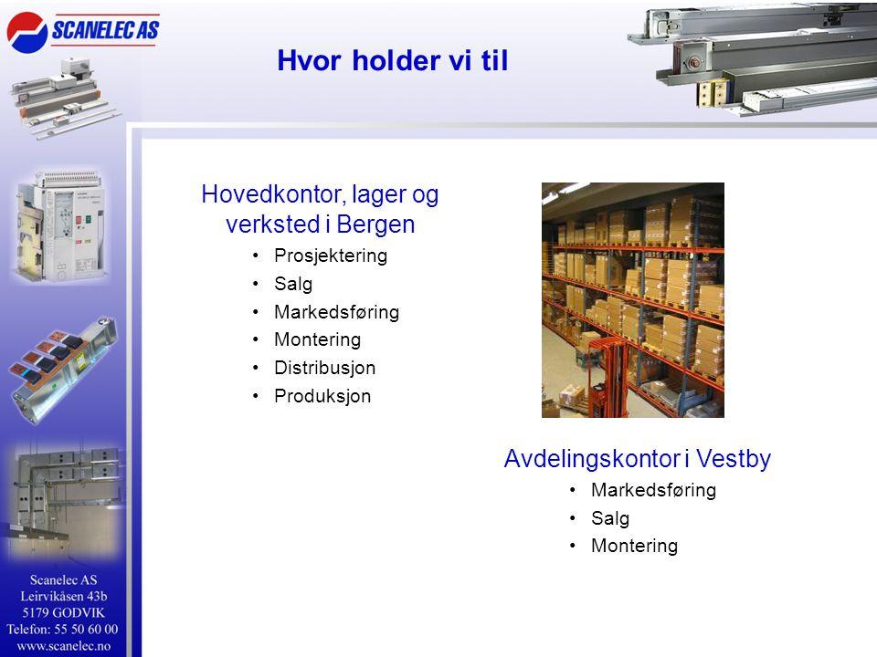 Hvor holder vi til Hovedkontor, lager og verksted i Bergen •Prosjektering •Salg •Markedsføring •Montering •Distribusjon •Produksjon Avdelingskontor i