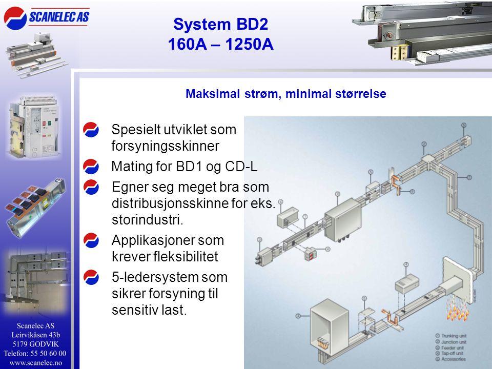 System BD2 160A – 1250A Spesielt utviklet som forsyningsskinner Applikasjoner som krever fleksibilitet Mating for BD1 og CD-L Egner seg meget bra som