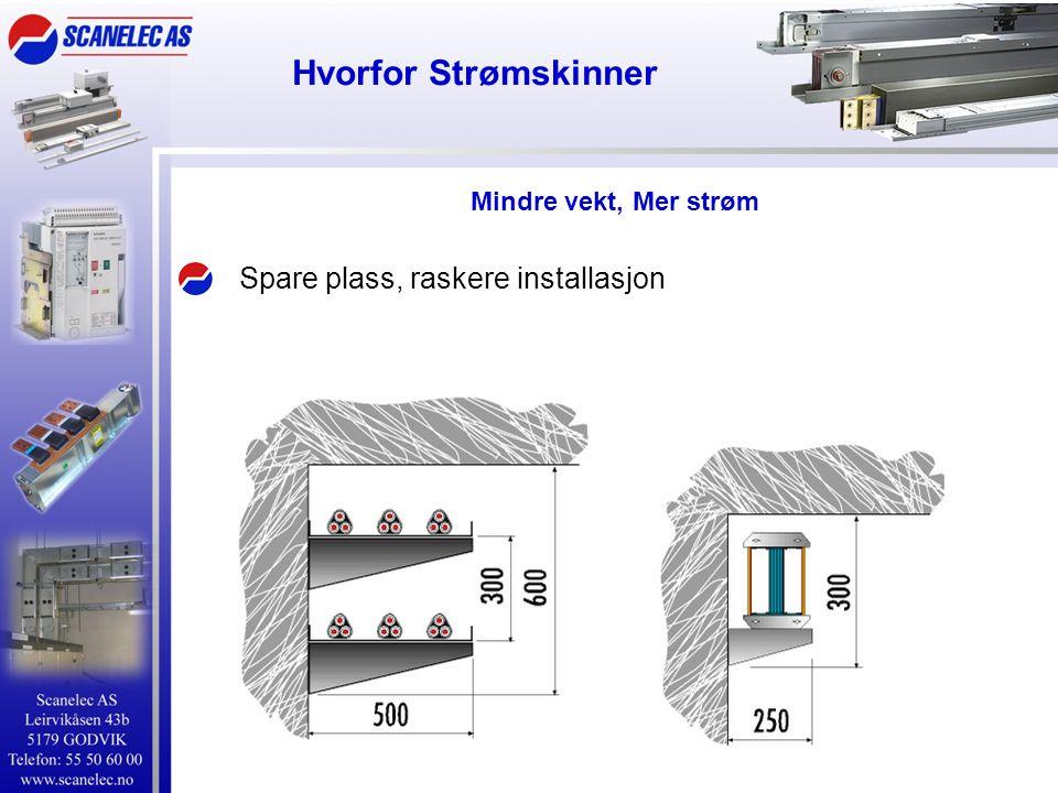 Hvorfor Strømskinner Spare plass, raskere installasjon Mindre vekt, Mer strøm