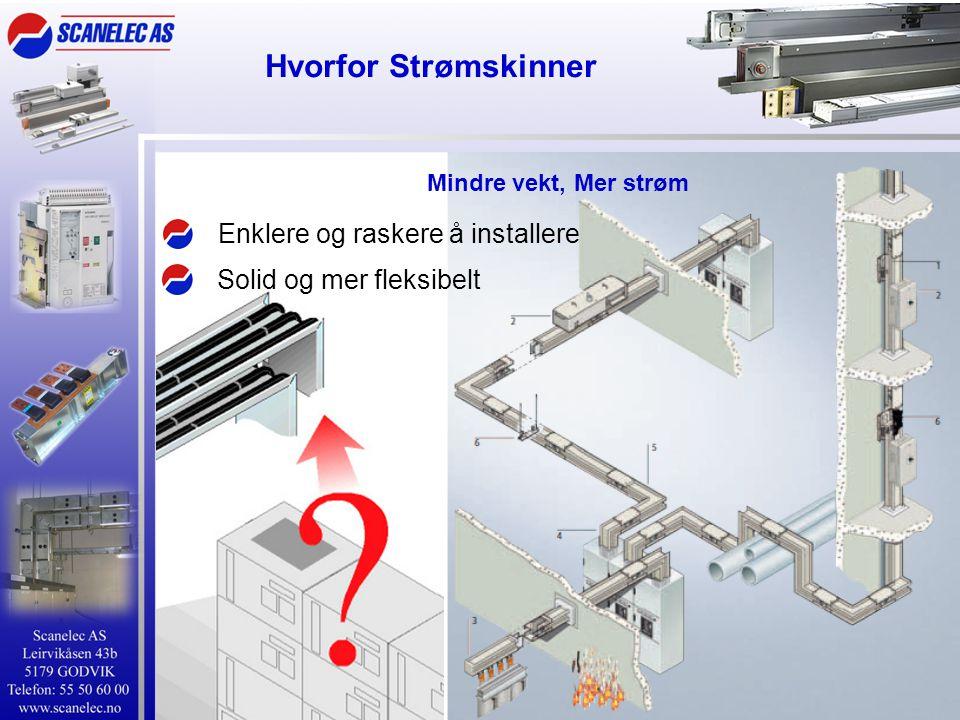 Hvorfor Strømskinner Prefabrikerte elementer betyr •Høy Kortslutningsmotstand •Alle elementer er testet •Lavt spenningsfall •Lite effekttap •Lave magnetfeltverdier •Lav brannlast •Tidsbesparende montasje Mindre vekt, Mer strøm