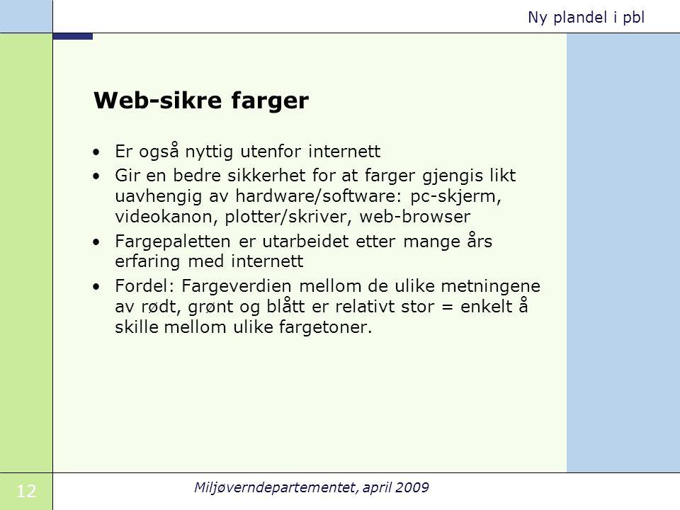 12 Miljøverndepartementet, april 2009 Ny plandel i pbl Web-sikre farger •Er også nyttig utenfor internett •Gir en bedre sikkerhet for at farger gjengi