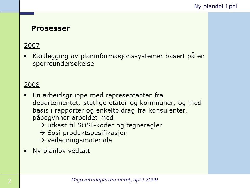 2 Miljøverndepartementet, april 2009 Ny plandel i pbl Prosesser 2007  Kartlegging av planinformasjonssystemer basert på en spørreundersøkelse 2008 