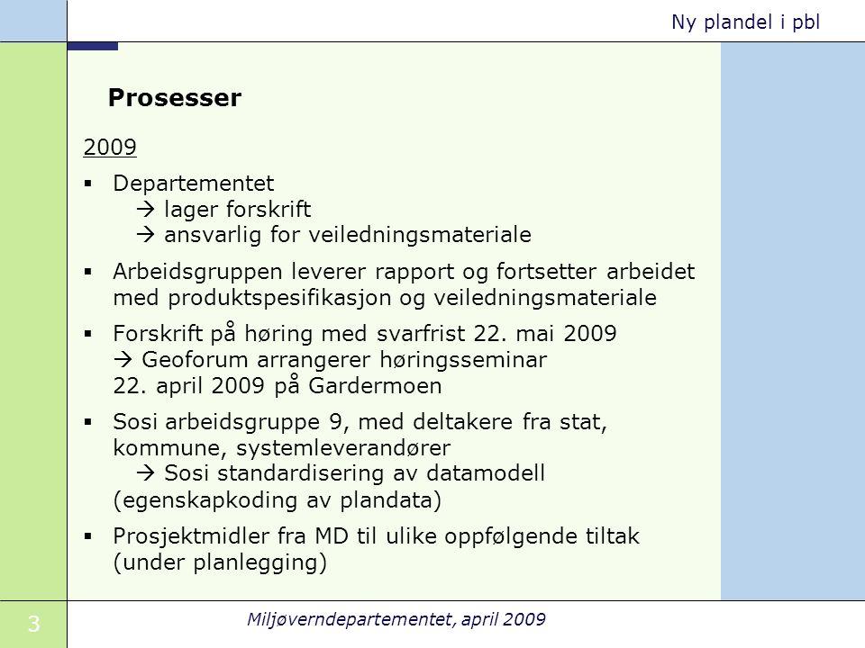 3 Miljøverndepartementet, april 2009 Ny plandel i pbl Prosesser 2009  Departementet  lager forskrift  ansvarlig for veiledningsmateriale  Arbeidsg