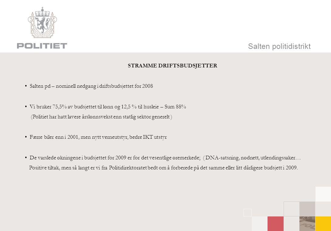 Salten politidistrikt STRAMME DRIFTSBUDSJETTER • Salten pd – nominell nedgang i driftsbudsjettet for 2008 • Vi bruker 75,5% av budsjettet til lønn og 12,5 % til husleie – Sum 88% (Politiet har hatt lavere årslønnsvekst enn statlig sektor generelt ) • Færre biler enn i 2001, men nytt verneutstyr, bedre IKT utstyr • De varslede økningene i budsjettet for 2009 er for det vesentlige øremerkede; ( DNA-satsning, nødnett, utlendingssaker… Positive tiltak, men så langt er vi fra Politidirektoratet bedt om å forberede på det samme eller litt dårligere budsjett i 2009.