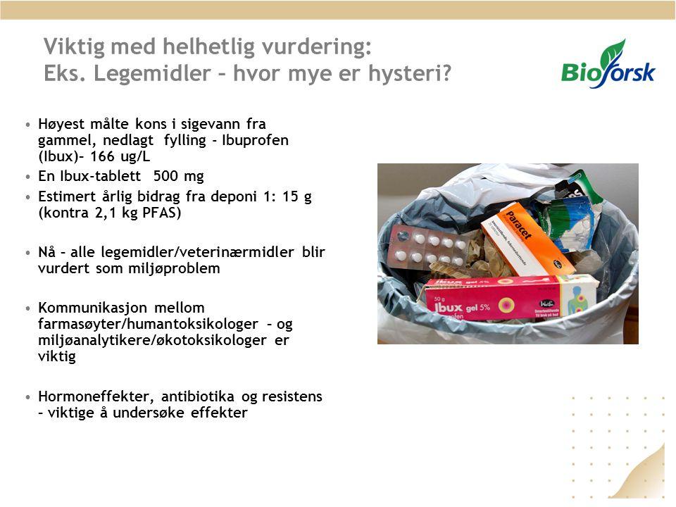 Viktig med helhetlig vurdering: Eks. Legemidler – hvor mye er hysteri? •Høyest målte kons i sigevann fra gammel, nedlagt fylling - Ibuprofen (Ibux)– 1